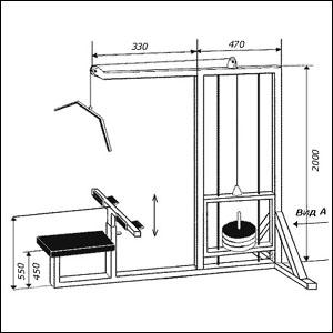 Чертеж тренажера с верхним расположением блока