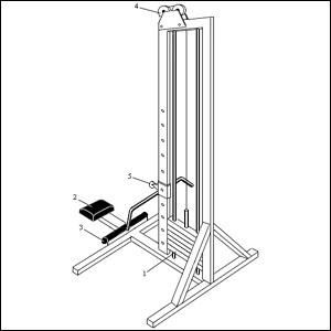 Чертеж тренажера с нижним расположением блока